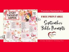 FREE Printable Scripture Verse Prompts for September. All our Bible Journaling Prompts are created to fit inside a Travelers Notebook. #ArtsyBibleJournaling #BibleJournaling #BibleJournalingDigitally #Travelersnotebook #Digital #Printable #HybridBibleJournaling by #RobinSampson #BibleJournalLove #HeartofWisdom     #BiblejournalLove Etsy Shop