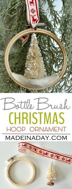 Bottle Brush Tree Embroidery Hoop Christmas Ornament via @madeinaday