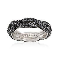 """Black Spinel Woven Eternity Band in Sterling Silver. Size 9"": ""Delicately weaved with black… #Jewelry #ClearanceJewelry #DiscountJewelry"