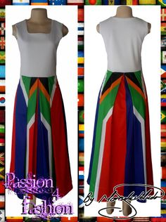 Long SA flag modern traditional dress with a white bodice and a square neckline. Modern Traditional, Traditional Dresses, Red Indian, Square Necklines, Dress Making, Custom Made, Bodice, High Waisted Skirt, Flag