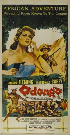 ODONGO (1956) - Rhonda Fleming - Macdonald Carey - Produced by Irwin Allen & Albert R. Brocolli - Directed by John Gilling - Insert movie poster.