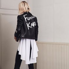 Discover the latest arrivals, including rock-chic biker jackets. Adidas Jacket, Bomber Jacket, Brand Store, Rock Chic, Karl Lagerfeld, Outfit Posts, Fashion Boutique, Outfit Of The Day, Fashion Outfits