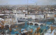 Sorvolando sui particolari - Olio su tela - cm.100x160 - dipinto con città, veduta metropolitana