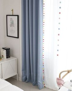 Pom Pom Blackout Curtains in 5 Colors Kids Blackout Curtains Nursery Blackout Curtains Curtains Nursery Bedroom Curtains Tassel Curtain Nursery Curtains, Kids Curtains, Nursery Room, Curtain Clips, Tassel Curtains, Curtain Fabric, Curtain Panels, Bedroom Designs, Bedroom Ideas