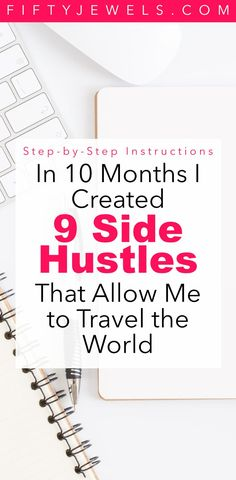 Passive Income - In 10 months I created 9 side hustles that allow me to travel the world full time. Find out exactly how I did it! #passiveincome #sidehustle #makemoneyonline #workfromhome