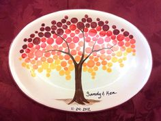 Ombre tree leaves effect on this large oval plate