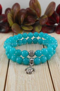Stretch Turquoise Jade with a Sea Turtle Charm or Cubic Zirconia Bead | Pick Your Favorite | Turquoise Jade Bracelet by YouDontNeedAReason on Etsy