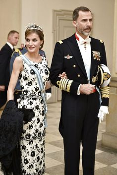 King Felipe and Queen Letizia wearing the Ansorena tiara attend the 75th birthday celebration of Queen Margrethe of Denmark 4/15/2015