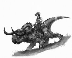 "1,181 Likes, 15 Comments - Shaun Keenan (@shaunmichaelkeenan) on Instagram: ""A cowgirl and her trusty nasutoceratops. #dinosaur #dinosaurs #nasutoceratops #oldwestdinosaurs…"""