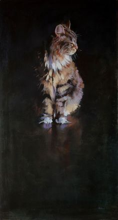 Patrick Saunders Fine Arts - Cat Portrait - Painting - Oil on Canvas - Dignan Art And Illustration, Illustrations, Art Watercolor, Contemporary Abstract Art, Animal Paintings, Cat Art, Pet Portraits, Painting Inspiration, Amazing Art