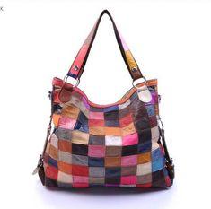 renkli derilerden çanta
