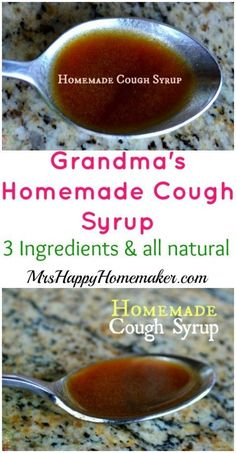 Homemade cough syrup with just 3 simple ingredients that you probably already have in your pantry. Great for 12 months old to adult! | MrsHappyHomemaker.com @thathousewife