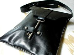 Black Leather Messenger with Antique Skeleton Key - Flat  Style - MADE TO ORDER