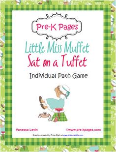 Free Little Miss Muffet printable individual path game for teaching number sense and one-to-one correspondence via www.preschoolspot.com #preschool #math