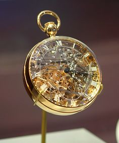 The Breguet No. 160 grand complication, more commonly known as the Marie-Antoinette or the Queen, is a case watch designed by Swiss watchmaker Abraham-Louis Breguet. Work on the watch was begun in 1782 and completed in 1827, four years after Breguet's death.  The watch was commissioned in 1782 by an admirer of the French Queen; Marie Antoinette. But she never lived to see it, as it was completed 34 years after she had been executed.