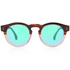 Illesteva Leonard Half/Half with Green Mirrored Lenses | illesteva