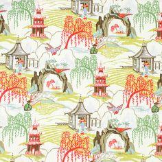 Contemporary Orange Toile Upholstery Fabric  von PopDecorFabrics