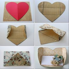 diy valentines day cards tutorials cardboard heart shaped envelope