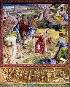 The Stoning of Stephen tapestry, Raphael, at the Vatican museum Vatican Library, Le Vatican, World Tapestry, Santa Sede, Italian Renaissance Art, Spiritual Paintings, Les Religions, Sistine Chapel, Catholic Art