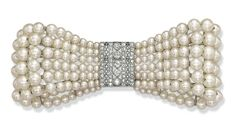 BELLE EPOQUE PEARL AND DIAMOND BOW BROOCH