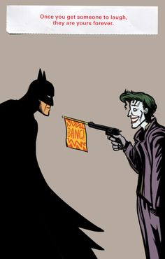 This is rather sweet in its own, deep way.  (I am in no way a believer of the ridiculous notion that the Joker has a homosexual attraction for Batman... and I feel that's not what this is portraying.)