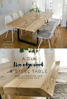 Live Edge Table with Steel Base - Build this DIY Live Edge Wood Dining Room Table with Steel Legs for your home! -DIY Live Edge Table with Steel Base - Build this DIY Live Edge Wood Dining Room Table with Steel Legs for your home! Live Edge Wood, Live Edge Table, Live Edge Tisch, Diy Tisch, Cuisines Diy, Diy Home Decor For Apartments, Diy Dining Table, Diy Wood Table, Rustic Wood Dining Table