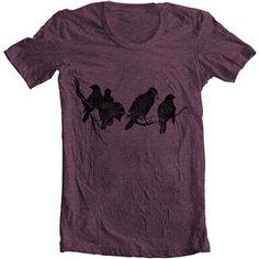 Unisex - Men's Women's T shirt - Birds ON a LIMB - American Apparel Tshirt Tee - OLIVE (6 Colors) - Sizes xs, s, m, l, xl (gct)