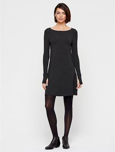 Eileen Fisher - Petite Bateau Neck Dress with Thumb Holes in Cozy Viscose Stretch Jersey