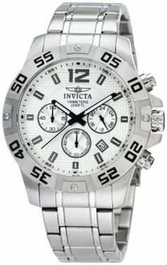 Invicta Men's 1500 Chronograph Silver Dial Stainless-Steel Watch Invicta. $99.89. Silver textured dial with black hands, gunmetal hour markers and arabic numeral 12; Luminous; Unidirectional bezel with black engraved arabic numerals at 5 second intervals. Chronograph functions with 60 second, 60 minute and 24 hour subdials; Date function. Flame-fusion crystal; Brushed and polished stainless steel case and bracelet. Water-resistant to 330 feet (100 M). Japanese Quartz