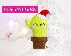 Cactus pattern feltro fai da te, istruzioni ornamento albero di natale, regalo, PDF cucito a mano, tutorial per realizzarlo, cactus addobbo