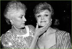 """Bea Arthur and Angela Lansbury at the 1987 Tony Awards ceremony, during which they performed """"Bosom Buddies"""" from Mame. They each won Tony Awards in 1966 for that show.  Photo: Anita and Steve Shevett"""