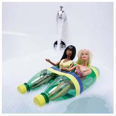 Barbies in Recycled Soda-Bottles-Boat! What a fun diy for the kids!