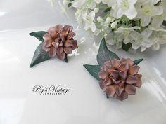 Vintage Leather Flower Earrings//Purple by PegsVintageJewellery