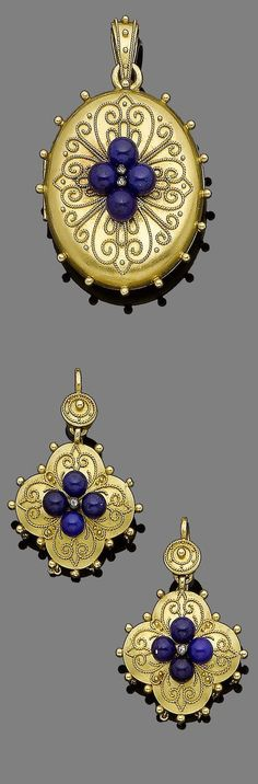 A gold and lapis lazuli locket pendant and earring suite, ca. 1870. The oval gold locket centrally-set with four lapis lazuli beads and rose-cut diamond highlights, decorated throughout with ropetwist and beading detail, opening to reveal a glazed compartment, accompanied by a pair of pendant earrings en suite