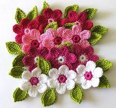 Crochet Flowers Design Free Crochet Patterns to Print Beau Crochet, Crochet Puff Flower, Knitted Flowers, Crochet Flower Patterns, Knit Or Crochet, Crochet Crafts, Crochet Projects, Knitting Patterns, Yarn Flowers