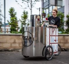 Velopresso Human Powered, Belt Driven Espresso Bicycle Cart