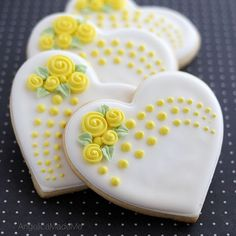 Bridal shower cookies! The yellow matches the wedding color and the style is made to be bouquet-like. Me like. 💛 #baking #wedding #decoratedcookies