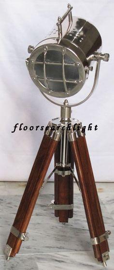 NAUTICAL SEARCHLIGHT ROSEWOOD TRIPOD TABLE LAMP SPOT LIGHT HOME DECORATIVE LAMP
