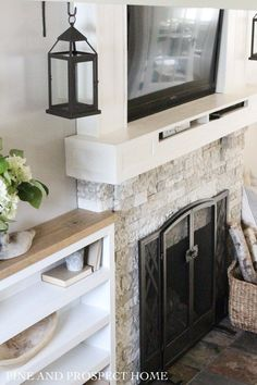 Newest Images antique Brick Fireplace Style Brick Fireplace Makeover with AirStone – Pine and Prospect Home Airstone Fireplace, Wooden Fireplace, Brick Fireplace Makeover, Concrete Fireplace, Rustic Fireplaces, Home Fireplace, Fireplace Mantels, Fireplace Ideas, Fireplace Remodel