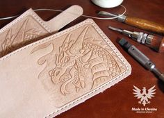 Minimalist leather men's wallet hand carved & by Eaglekraft