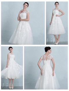 Cap Sleeves Illusion Neckline Tea Length Wedding Dress