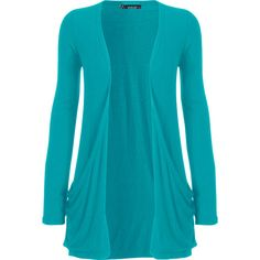Destiny Long Sleeve Open Cardigan ($14) ❤ liked on Polyvore featuring tops, cardigans, jackets, outerwear, sweaters, turquoise, womens plus tops, plus size womens cardigans, boyfriend cardigan and open cardigan