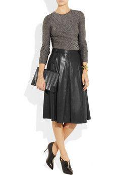 (BURBERRY LONDON) Pleated leather skirt Long Leather Skirt a807b81008faa