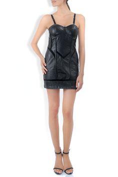 Rochie piele neagra si insertii bumbac Overall Shorts, Overalls, Dresses, Women, Fashion, Vestidos, Moda, Fashion Styles, Dress