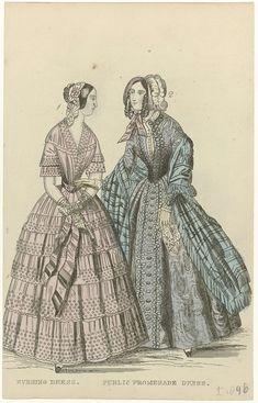 Anonymous   The Ladies' Cabinet of Fashions, ca. 1846 : Evening dress..., Anonymous, G. Henderson, c. 1846   Nr. 1: gestippelde avondjapon met gerimpelde stroken stof en geschulpte zoom. Accessoires: muts, ceintuur, mitaines,  waaier. Nr. 2: wandeljapon. Accessoires: geruite sjaal, afgezet met franjes, hoed, handschoenen, zakdoek. Prent uit het modetijdschrift The Ladies' Cabinet of Fashions, Music and Romance (Londen 1832-1870).