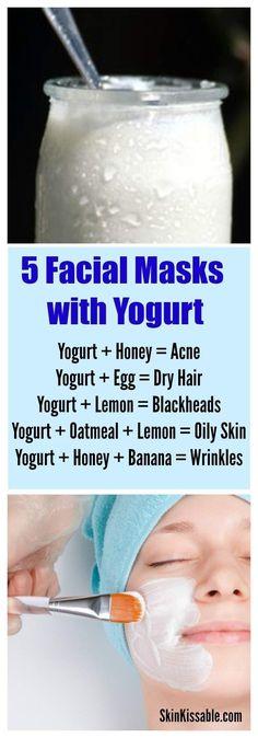 Yogurt homemade skin care masks & other diy remedies for wrinkles, acne, blackheads & more. #skincare