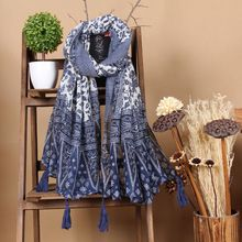 Solid Ruffles Long Sleeve Maxi A-line Dress - Floryday Casco Floral, Manga Floral, Style Ethnique, Lightweight Scarf, Summer Scarves, Cotton Scarf, New Blue, Long Scarf, Ethnic Fashion