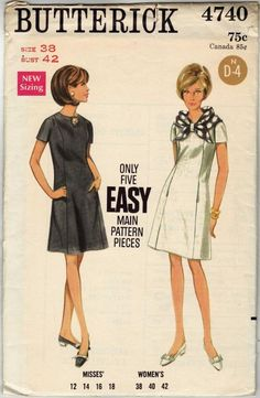 Vintage Dresses Vintage Womens Sewing Pattern Mod A Line Dress New Look Dress Patterns, Vintage Dress Patterns, Clothing Patterns, Vintage Dresses 1960s, Vintage Ladies, Vintage Outfits, Vintage Fashion, Sixties Fashion, Moda Vintage