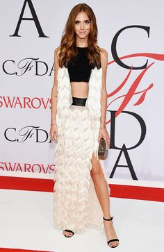 Chiara Ferragni in a fringed Rebecca Minkoff top and skirt