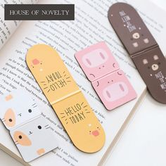 Cute Animal - Magnet Bookmarks (A Pair) Creative Bookmarks, Bookmarks For Books, Diy Bookmarks, Leather Bookmark, Diy Notebook, Cute Stationery, Planner Organization, Sticky Notes, Book Making